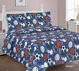 Sapphire Home 儿童床上用品床单、被子和窗帘板男女适用,多种有趣设计和鲜艳颜色,男孩女孩儿童房装饰 运动 Full Sheet Set