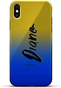 豪华设计师,3D 印花,时尚,高端,变色效果手机壳,适用于 iPhone Xs/X - 黄昏蓝小白色棒球图案LUX-IXCRM2B-NMDIANE1 NAME: DIANE, HAND-WRITTEN STYLE 蓝色(Dusk)