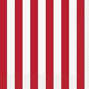 条纹派对餐巾,6.5 x 6.5 英寸,16 只装 红色 均码 38002