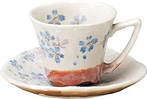 宗峰窑 咖啡杯 平安樱花 茶杯和茶杯 蓝色 φ8.8×7cm(170cc) 750-09-233