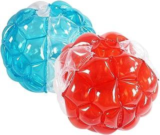 SUNSHINEMALL 成人缓冲球,2 件装,充气身体泡泡球相扑保险杠玩具,重型耐用 PVC 乙烯基儿童成人物理户外活动游戏(91.44 cm,新 4 红色 + 4 蓝色+2 纯净)