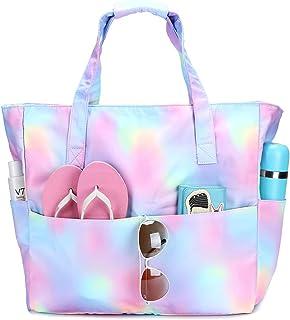 防水沙滩手提包女式泳池包超大健身手提包带潮湿隔层,适合周末旅行 彩虹色 X大码