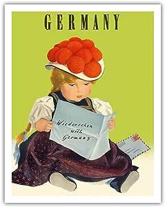 """太平洋岛艺术德国 - See you Again (Wiedersehen) - Atelier Loh1m 创作的复古世界旅游海报 c.1950s - 精美艺术印刷品 11"""" x 14"""" APB9012"""