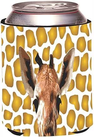 "Rikki Knight""Giraffe Close-Up on Gold Shades Design"" Beer Can Soda Drinks Cooler Koozie"
