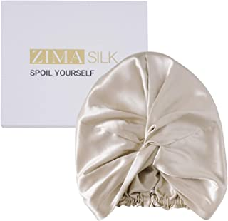 ZIMASILK 22 Momme * 桑蚕丝*帽,女士*护理,天然丝绸夜帽,带弹性固定头,经典褶皱(1 件,米色)