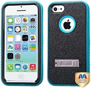 MyBat VERGE Hybrid Protector Cover with Stand for Apple iPhone 5/5s - Retail Packaging - Natural Black/Tropical Teal