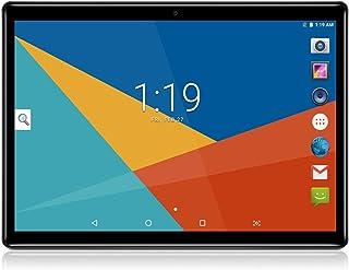 LLLCCORP 10英寸平板电脑 Android 8.1 四核 1.3Ghz 双 SIM 卡插槽 4GB RAM 64GB ROM 内置 WiFi 蓝牙 GPS (黑色)