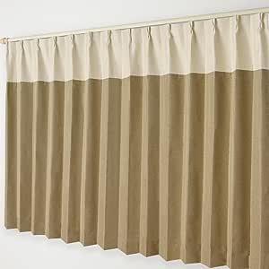 ナチュラル遮光カーテン Aフック 15.ベージュヘッド×モカブラウン 幅300×丈190cm 1枚