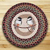 """br & nameinternal ch-081 chickadee printed 15.5 """" round chair pad with matching ties"""