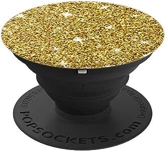 Star Gazer 时尚潮流时尚闪亮琥珀黄色 PopSockets 手机和平板电脑握把和支架260027  黑色