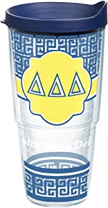 Tervis Delta Sorority 平底杯,蓝色旅行盖 透明 24oz DELTA-DELTA-DELTA-GK