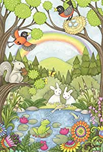 Toland Home Garden Robins and Pond Critters 12.5 x 18 Inch Decorative Cute Spring Summer Flower Forest Animal Garden Flag