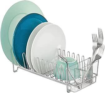 mDesign 紧凑现代厨房台面,水槽盘干燥架,可拆卸餐具托盘 - 排水和干酒杯、碗和餐具 - 金属线排水器 铬/透明 1包 06111MDK