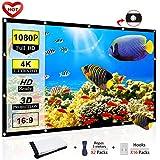 Ylife 投影机屏幕,16:9 高清 4K 无折痕便携式视频电影屏幕索环,适用于家庭影院户外 120INCH
