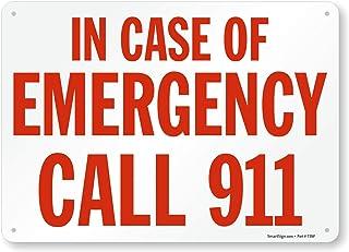 "SmartSign ""in Case of Emergency Call 911""标牌 | 25.4cm x 35.56cm 铝"