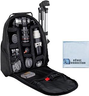豪华数码相机/视频加垫背包 适用于尼康、佳能、索尼、宾得 DSLR 相机、尼康 D5500、D810、D750、D3000、D3000、D3200、D5000、D5100、D7000、D7100、D600、D610、D700、D800、D90 DSLR 和其他 SLR/DSLR 相机 + 超细纤维费用连接