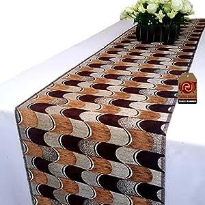 Parfair Dessin 纹理织物几何桌布适合派对婚礼家居装饰品 Style I - Brown 13in. x 108in. PD17A255