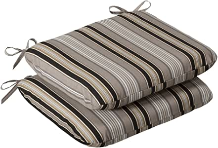 Pillow Perfect Indoor/Outdoor Black/Beige Striped Seat Cushion, Rounded, 2-Pack
