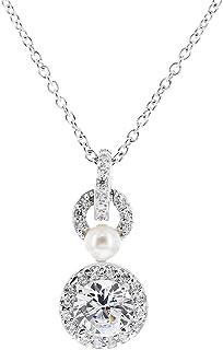 [Amazon Collection] Amazon Collection 镀铑纯银 透明圆形立方氧化锆和白色淡水珍珠项链 吊坠 JEP00459_110MX00JD00