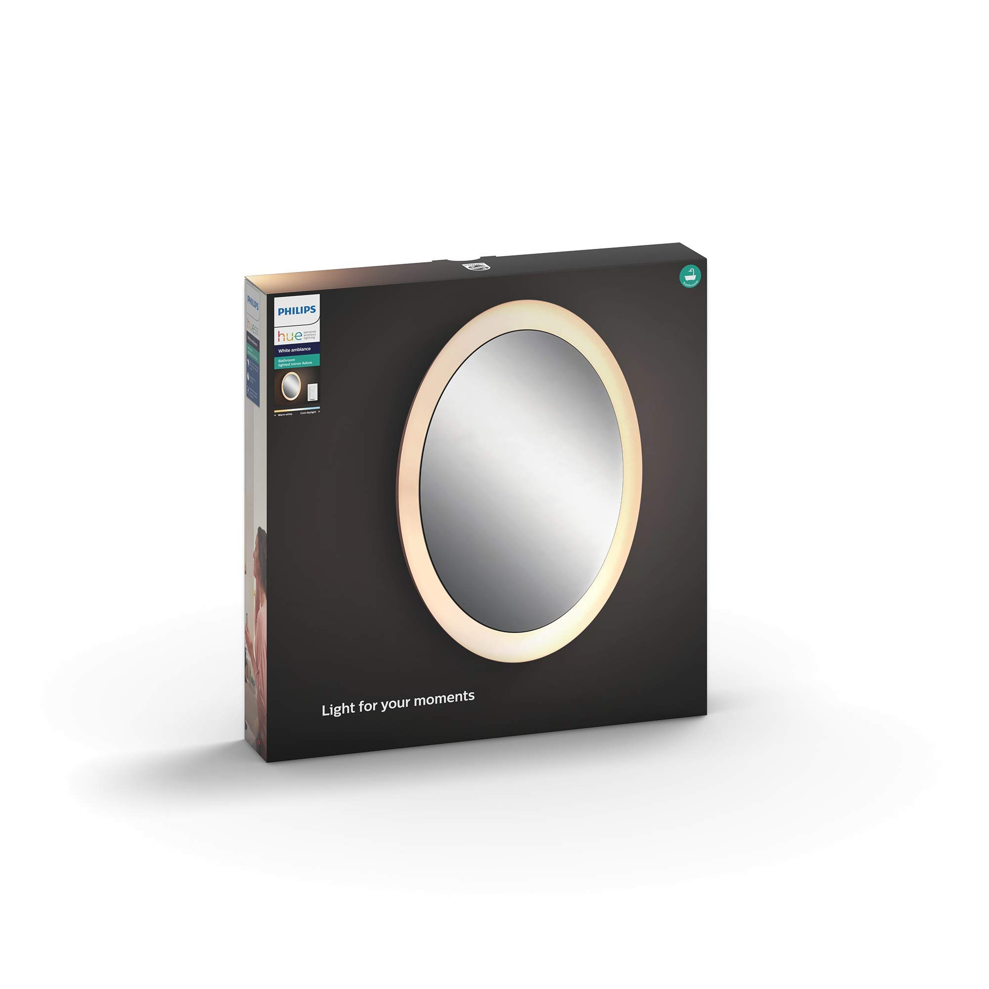 Philips 飞利浦 Hue Adore LED镜面灯,照明灯具,包含 调光开关,所有白色色调,可通过应用程序控制,可兼容Amazon Alexa(Echo/Echo Dot)智能语音助手程序,白色