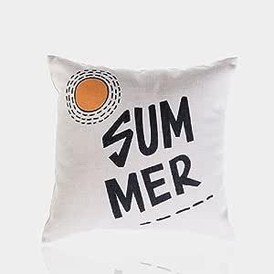KARUILU 家居室内/室外装饰抱枕套 棉麻厚垫套 45.72 x 45.72 厘米 夏季 18 x 18 3.1