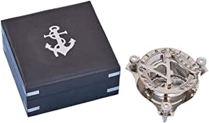 "Hampton Nautical CO-0563 3Xglass-101 实心黄铜 Captain's Triangle Sundial Compasswith Rosewood Box 3"" - 航海装饰 - 航海家居 镀铬色 CO-0563-CH"