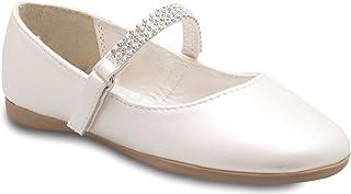 OLIVIA K 女童玛丽珍芭蕾平底鞋 - 带上水钻 - 魔术贴一脚蹬 Ivory Pu 12 M US 儿童