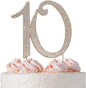 Sweet 16 蛋糕装饰 - 高级水晶水钻 - Monogram 16 号 - 16 岁生日聚会装饰 - 牢固附着水晶 - 完美的纪念品 10 玫瑰色