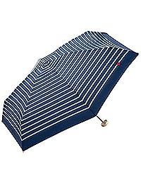 【亚马逊进口直采】 W.P.C 世界派对 拉链包 短小 折叠伞 手动打开 条纹心形图案 深蓝色 6根骨架 50cm 轻型