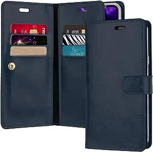 GOOSPERY LG V40 手机壳,LG V40 ThinQ 手机壳[额外的卡和现金插槽] Mansoor 日记【双面钱包手机壳】优质 PU 皮革翻盖盖【跌落保护】适用于 LG V40 ThinQ *蓝