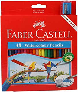 Faber Castell 水彩铅笔带卷笔和刷子,48 支水彩铅笔套装