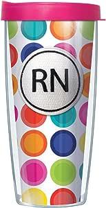 RN 徽章粉色圆形玻璃杯,带透明盖子 快乐圆圈 22盎司 43235-74604