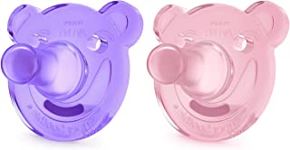 Philips Avent Soothie 安撫奶嘴,3 個月以上寶寶,粉色/紫色,熊形狀,2 只裝,SCF194/05