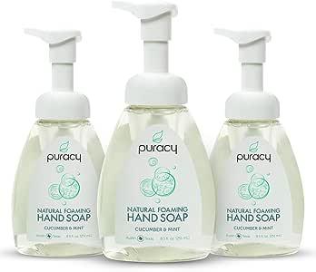 Puracy 天然泡沫洗手液,无硫酸盐洗手液,黄瓜和薄荷味,8.5 盎司