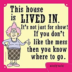 Tree-Free Greetings Premium Refrigerator Magnet, 3.5 x 3.5 Inches, Aunty Acid Lived In House (MG97420)