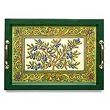 中号木制服务托盘带黄铜把手,44.45 cm X 29.46 cm,地中海,托斯卡橄榄色,意大利设计,蓝色、绿色、黄色,家居装饰,2.54 cm 高
