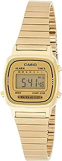 Casio 卡西欧 树脂/不锈钢女士手表 - 数字显示 折叠式表扣 带日期自动日历,金色,One Size