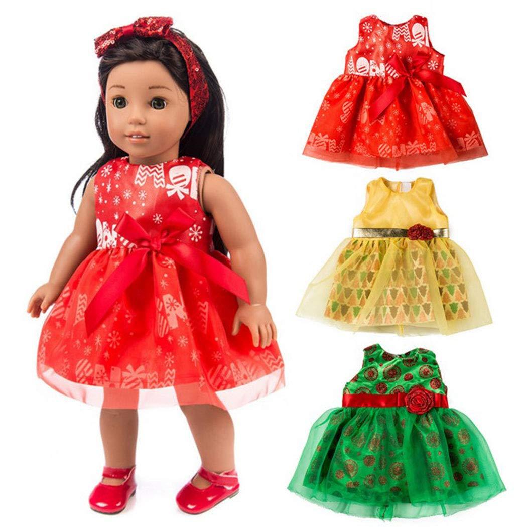 Rzee 3つのクリスマス衣装のスーツ、女の赤ちゃんの服のセット、さらには米国スカート、45.72センチメートル人形の服、人形の服触発制服クリスマス、クリスマスカチューシャ米国+