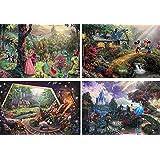 Thomas Kinkade–The Disney 系列 4 合 1,每件 500 片拼图(睡美人,米奇和米妮,白雪公主和七个小矮人和灰姑娘)
