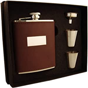 """Visol """"Alcide"""" Leather Flask Gift Set, 6-Ounce, Brown"""