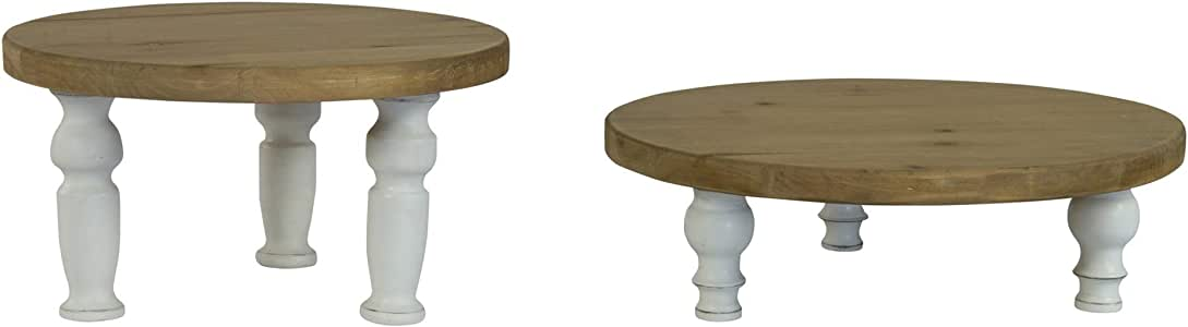 VIPSSCI 木制植物支架 2 件套复古别致凳式植物显示器