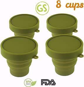 Gouda 精选可折叠杯野营杯 - 轻便小巧便于携带 适合上学 - 户外 - 旅行杯 - 4 杯 4 种颜色 8 Cups, Army Green 170 ml