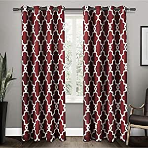 """Exclusive Home Curtains Ironwork Sateen Woven Window Curtain Panel Pair, 52"""" x 108"""", Burgundy"""