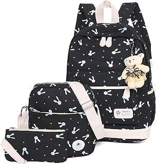 VIDOSCLA 3 件套背包小学生背包小学生书包学生背包带午餐盒 黑色