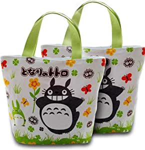 Finex Set of 2 Canvas Zippered Tote with Top Carry Handles - Lunch Box Bag Gym Tote White & Green (TOTORO Zippered Tote - Set of 2)