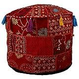 印度刺绣红色拼布软垫凳套,传统印度装饰波夫软垫印度舒适地棉软垫凳,客厅蓬蓬,圆形舒适的汤夫小圆托马人