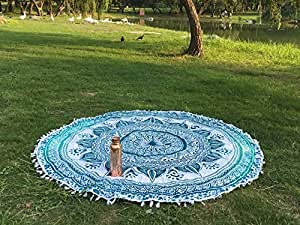 圆形海滩毛巾 mandala 波西米亚风格圆形海滩毛巾毯子