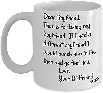 亲爱的男友马克杯 - 面拳师马克杯,*好的不合适讽刺马克杯 - 带趣味谚语的陶瓷咖啡杯,搞笑的礼物,非同寻常的恶作剧礼物 白色 11oz GB-2189927-20-White