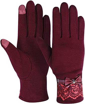 女式冬季手套触屏手套纺织手套保暖休闲手套 - Kay Boya