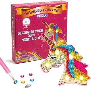 BEIGUO 钻石绘画套件 独角兽礼物 带LED灯的钻石绘画 装饰您自己的夜灯工艺品和艺术套装,圣诞工艺品圣诞袜适合儿童、男孩、女孩的填充物